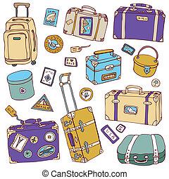 szüret, bőrönd, set., utazás, vektor, illustration.