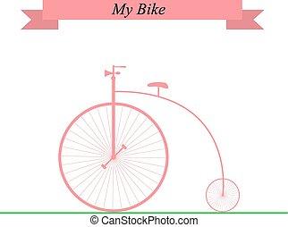 szüret, bike., vektor, illustration.