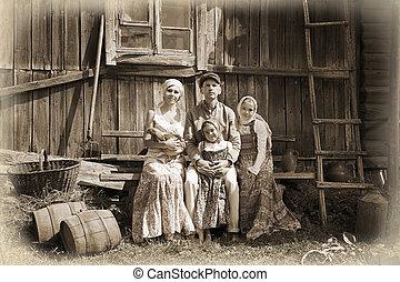 szüret, címzett, család portré