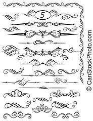 szüret, calligraphic, decoratio, oldal