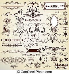szüret, calligraphic, tervezés elem