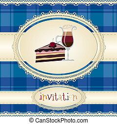 szüret, card--invitation--with, kávécserje, és