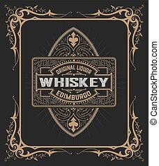 szüret, csomagolás, pajzs, whisky