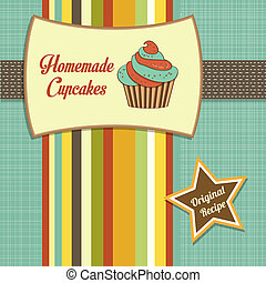 szüret, cupcakes, házi készítésű, poszter