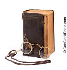 szüret, cvikker, szemüveg, noha, egy, öreg, könyv