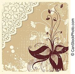 szüret, dekoráció, háttér, szöveg, virágos, .flowers