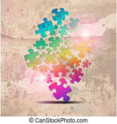 szüret, egyesített, háttér., elvont, rejtvény, alakít, színes, vektor, tervezés