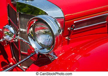 szüret, első lámpa, részletez, autó