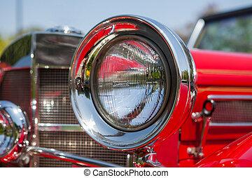 szüret, első lámpa, részletez, piros autó