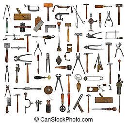 szüret, eszközök, kollázs