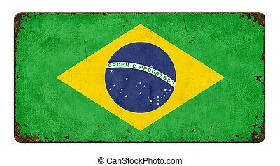 szüret, fém cégtábla, képben látható, egy, white háttér, -, lobogó, közül, brazília