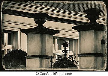 szüret, fénykép, -, nagy, nemesi kúria, kapu