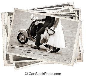 szüret, fénykép, noha, newlywed
