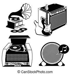 szüret, fekete, zene, ikonok