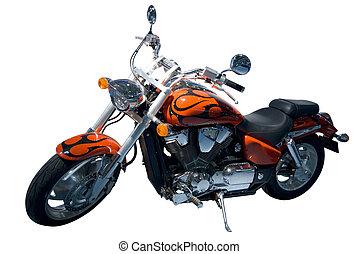 szüret, felett, elszigetelt, motocycle., chopper., fehér
