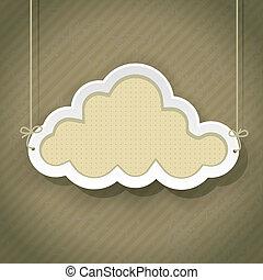 szüret, felhő, retro, háttér, aláír