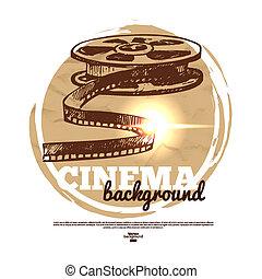 szüret, film, mozi, transzparens, noha, kéz, húzott, skicc, ábra