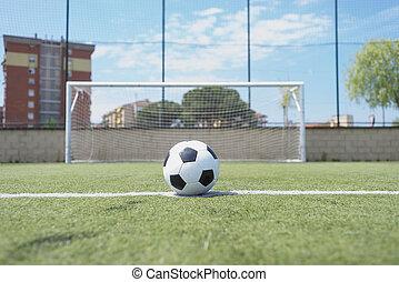 szüret, focilabda, képben látható, a, büntetés, mutat
