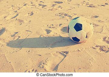 szüret, focilabda, képben látható, homok