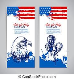 szüret, háttér, kéz, amerikai, 4, tervezés, flag., húzott, szalagcímek, július, nap, szabadság