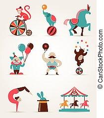 szüret, hatalmas, cirkusz, gyűjtés, noha, farsang, móka jól, vektor, ikonok, és, háttér