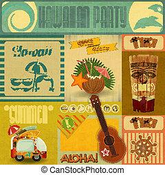 szüret, hawaii, kártya