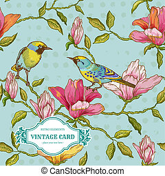 szüret, kártya, -, menstruáció, és, madarak, -, helyett, tervezés, és, scrapbook, alatt, vektor