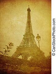 szüret, kép, eiffel, párizs, franciaország, bástya