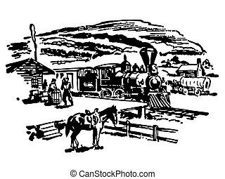 szüret, kép, farm, változat, fekete, fehér