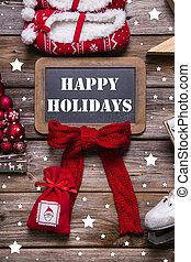 szüret, -, köszönés, dél, erdő, vidám, white christmas, kártya, piros