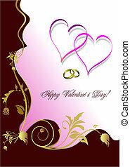 szüret, köszönés, valentine s, vagy, esküvő, kártya, nap