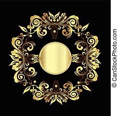 szüret, közül, arany, floral dekoráció