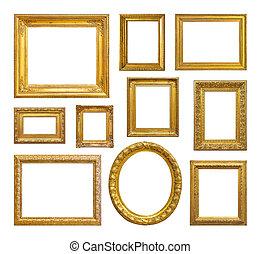 szüret, keret, állhatatos, arany-