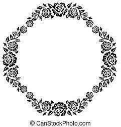 szüret, keret, fekete, körvonal, agancsrózsák