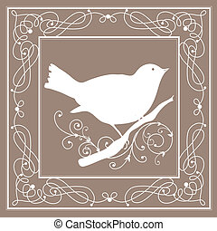 szüret, keret, madár