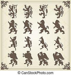 szüret, királyi, madarak, címerpajzs