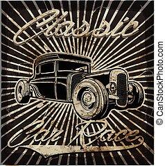 szüret, mód, öreg, retro, autó