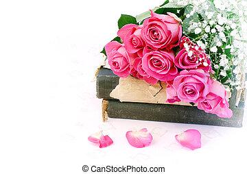 szüret, mód, szeret, kopott, rózsa, könyv, retro, háttér, esküvő, sikk, valentine's, nap