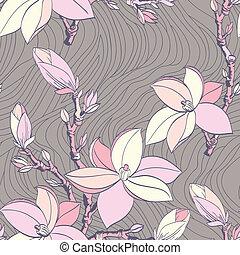 szüret, magnólia, virág, seamless, motívum