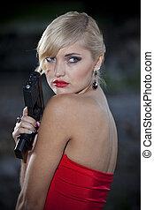 szüret, nő, pisztoly