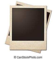 szüret, pillanat, fénykép, polaroid, keret, isolated.,...