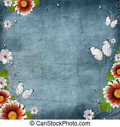 szüret, pillangók, tervezés, háttér, virágos, menstruáció