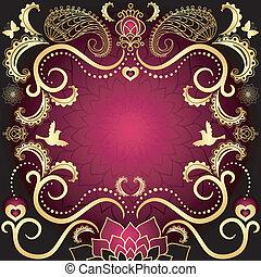 szüret, purple-gold, keret, kedves