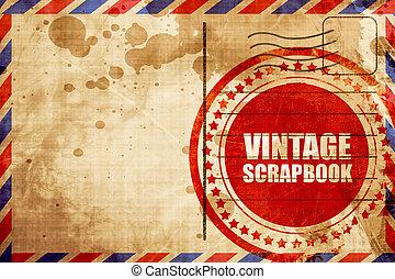 szüret, scrapbook, piros grunge, bélyeg, képben látható, egy, légiposta, háttér