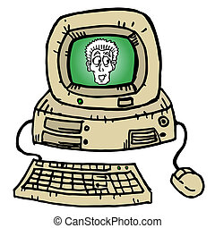 szüret, számítógép, karikatúra