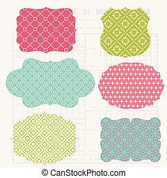 szüret, színes, tervezés elem, helyett, scrapbook, -, öreg,...