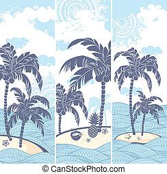 szüret, szalagcímek, sziget, óceán