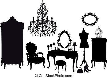 szüret, szoba, vektor, öltözet