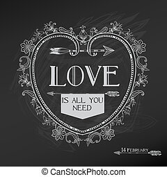 szüret, valentine's nap kártya, tervezés, -, szeret, esküvő, -, alatt, vektor