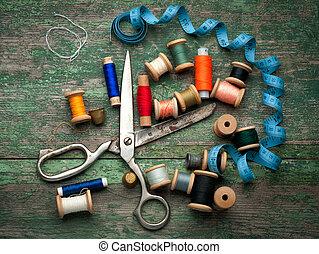 szüret, varrás, eszközök, és, színezett, tape/sewing,...